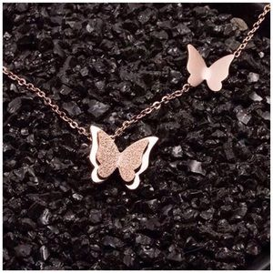 .925S Frosted Titanium Butterfly Necklace